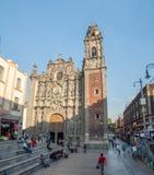 三位一体的教会,历史中心zocalo 免版税图库摄影