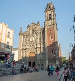 三位一体的教会,历史中心zocalo 库存照片