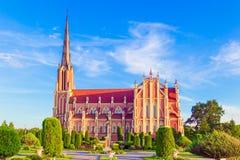 三位一体的雄伟教会在Gerviaty,哥罗德诺地区,白俄罗斯 免版税库存照片