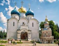 三位一体的Sergius拉夫拉, Sergiyev Posad假定大教堂 免版税库存图片