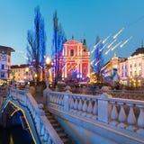 三位一体的Ursuline教会, Ljubljan,斯洛文尼亚 免版税库存图片