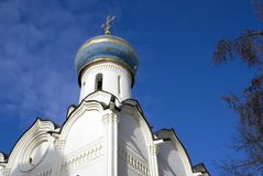 三位一体Sergius拉夫拉圣灵教会在俄罗斯 彩色照片 免版税库存照片