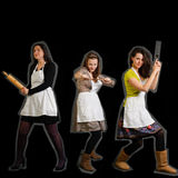 三位女性厨师 库存照片