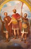 三位早期的基督徒圣洁受难者和战士绘画教会大教堂的玛丽亚Ausiliatrice 图库摄影