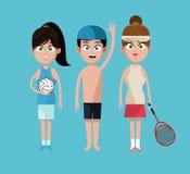 三体育人网球排球和游泳 库存例证