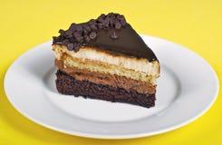 三倍巧克力沫丝淋蛋糕 免版税库存图片