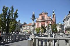 三倍桥梁和方济会修士教会,卢布尔雅那 免版税图库摄影