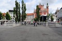 三倍桥梁在卢布尔雅那,斯洛文尼亚 库存图片