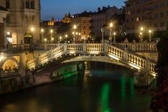 三倍桥梁在卢布尔雅那(斯洛文尼亚) 免版税库存图片