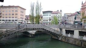三倍桥梁在卢布尔雅那 免版税库存图片