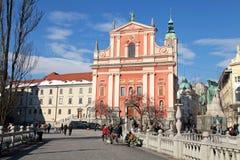 三倍桥梁(Tromostovje), Preseren广场和方济会修士库尔 库存图片