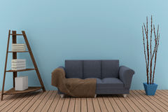 三倍沙发在有书架的蓝色屋子在3D翻译 库存照片