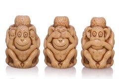 三具有的玩具猴子 库存照片