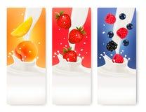 三副果子和牛奶横幅 免版税库存图片
