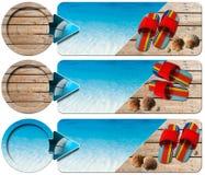 三副海假日横幅- N4 免版税库存图片