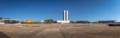 三力量广场-巴西利亚,联邦的Distrito,巴西全景  免版税库存照片