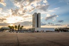 三力量广场Praca dos在日落-巴西利亚,联邦的Distrito,巴西的Tres Poderes 库存照片