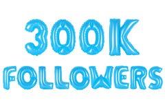 三十万个追随者,蓝色颜色 免版税图库摄影