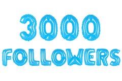 三千个追随者,蓝色颜色 免版税库存照片