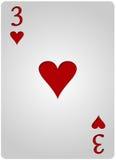三卡片心脏啤牌 免版税图库摄影