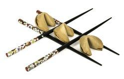 三双签饼和筷子 库存图片
