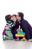 三口之家使用的lego 免版税库存图片