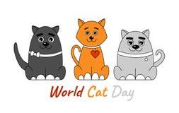 三只五颜六色的猫 免版税库存图片