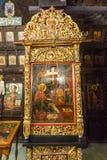 三只手的著名象在老特罗扬修道院里在保加利亚 免版税图库摄影