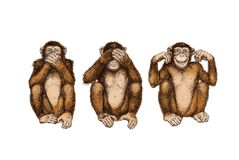 三只明智的猴子(不要参见,听到,告诉罪恶) 库存例证