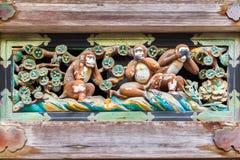 三只明智的猴子,日光,日本 听不到罪恶,不要讲evi 免版税库存图片