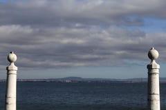 从三只海鸥Comercio广场的视域  免版税库存照片