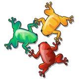 三只滑稽的五颜六色的青蛙或蟾蜍在白色背景对每其他负爪子被隔绝 传染媒介动画片特写镜头 向量例证