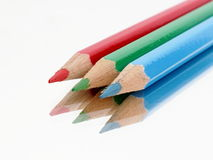三只颜色蜡笔 库存图片