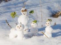 三只滑稽的雪人和雪猫 库存图片