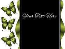 三只绿色蝴蝶介绍幻灯片背景 库存图片