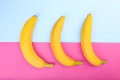 三可口,异乎寻常,甜点饱和了在明亮的桃红色和蓝色背景的黄色香蕉 免版税库存照片