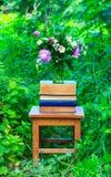 三叶草、矢车菊和茉莉花在一个玻璃花瓶和堆花花束书在一把老木椅子在gree中 免版税图库摄影