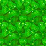 三叶草和露水传染媒介无缝的样式 背景蓝色云彩调遣草绿色本质天空空白小束 夏天开花墙纸 圣帕特里克` s天例证 库存照片
