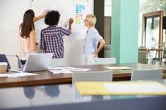 三名女实业家开创造性的会议在办公室 库存照片