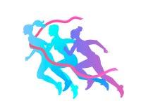 三名妇女剪影跑到胜利,克服困难 马拉松,跑到结束 免版税库存图片