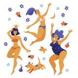 三名愉快的跳舞pody正面妇女,女孩 库存照片
