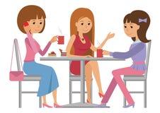 三名美丽的妇女谈话在咖啡店,当喝热的咖啡时 向量例证