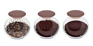 三咖啡的类型在玻璃瓶子的 库存照片