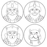三国王和骆驼着色 免版税库存照片