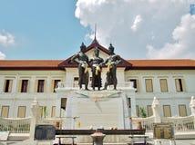三国王Monument在清迈,泰国 免版税库存图片