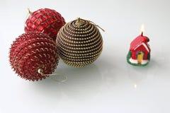 三圣诞节中看不中用的物品ans每蜡烛 免版税库存照片