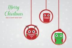 三圣诞节猫头鹰 免版税图库摄影