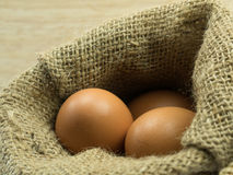 三在大袋的鸡蛋在木背景 库存图片