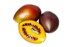 三在白色背景的番茄 免版税库存照片
