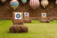 三在领域的射箭目标 免版税库存图片